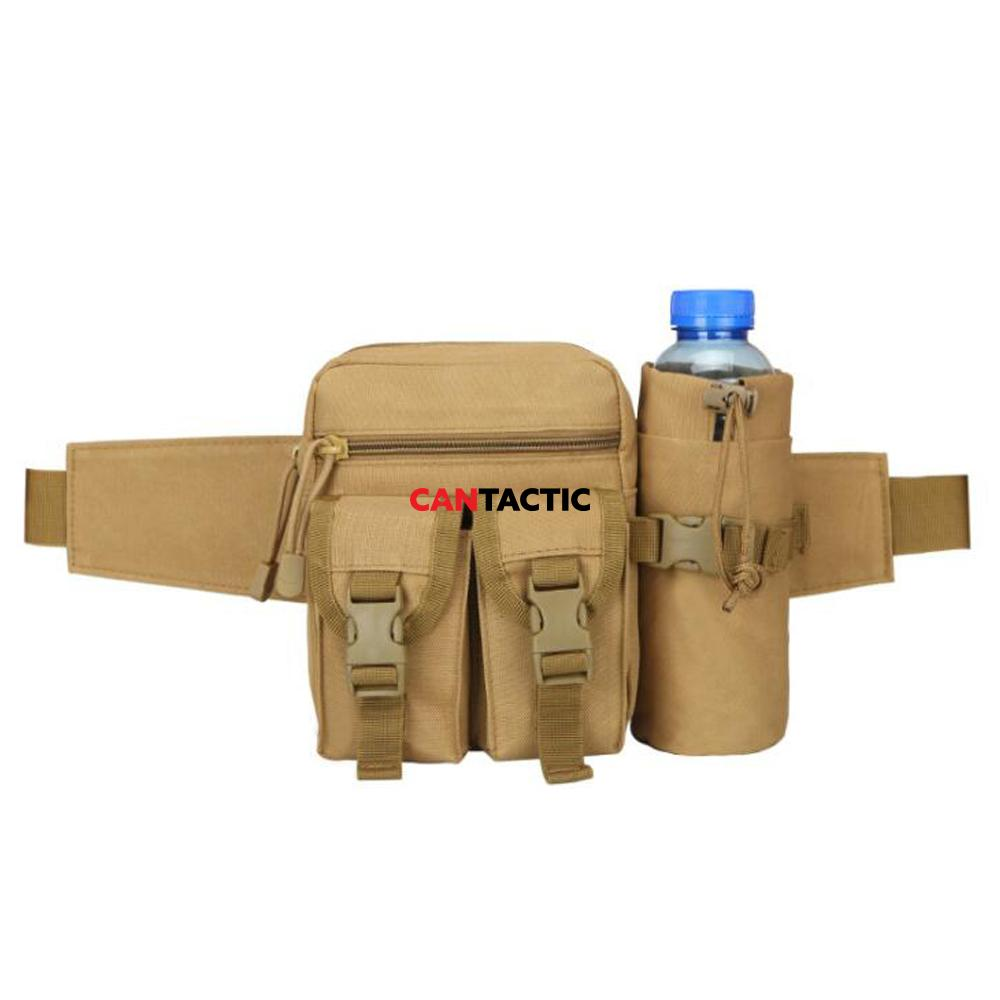 Tactical fanny pack military waist pack pouch with water bottle pocket holder hip belt bag outdoor mole pack for hiking