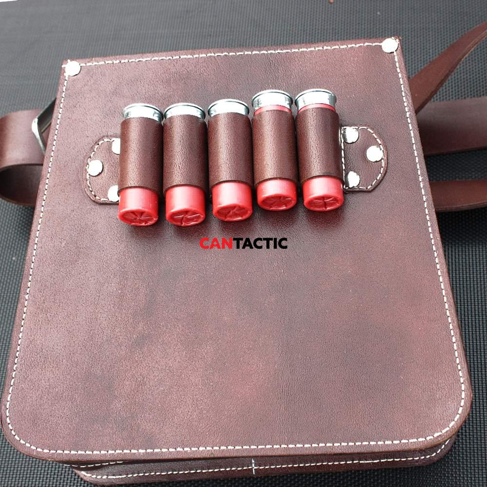 Hand made cow leather shotgun shell bag, trap shooting bag, ammo dump, elegant hunting bag.