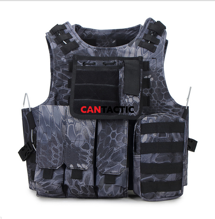 Tactical Vest Molle Gear Military Security Vest with Removable Pouches for CS, Hunting, Shooting Range