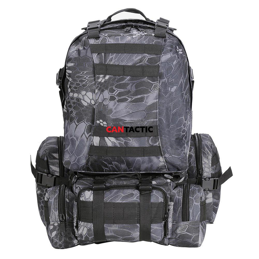 Tactical military grade backpack 3 day assault pack 600D oxford fabric in real tree and python camo, 55L