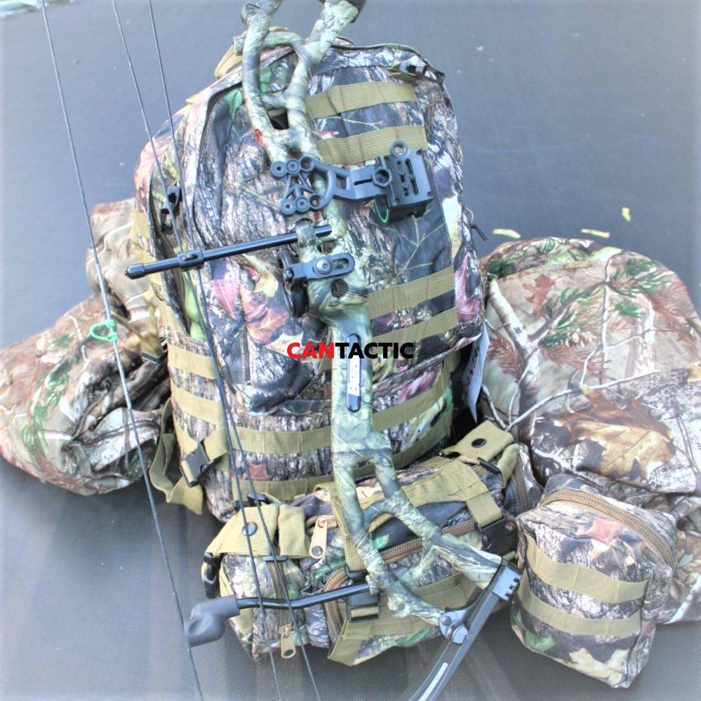 Hunters waterproof cache pack 600D oxford fabric in real tree and python camo, 55L