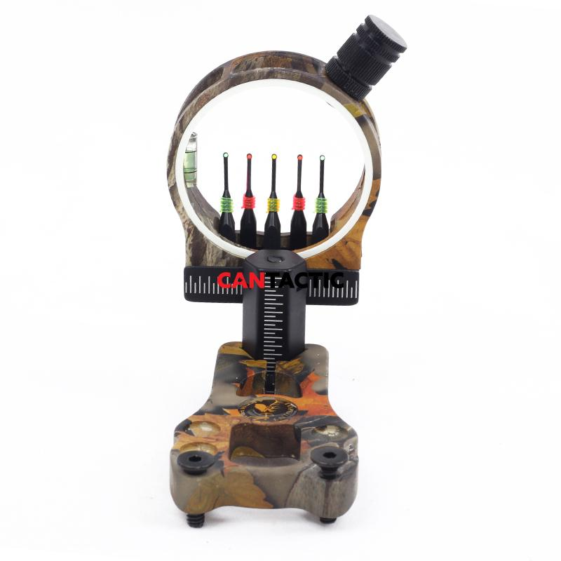 Compound bow archery 5 Pin Bow Sight 0.029 Fiber Aluminum Machined with LED Sight Light