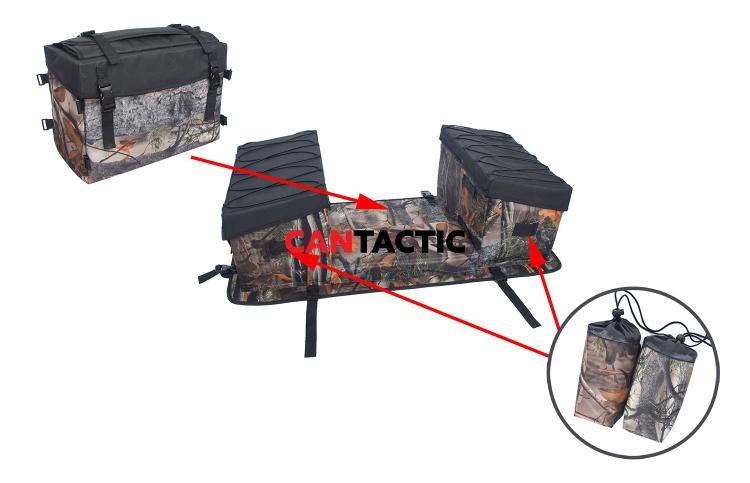 Multi-compartment ATV Camouflage Cargo Padded-Bottom Rear Rack Pack Storage Bag