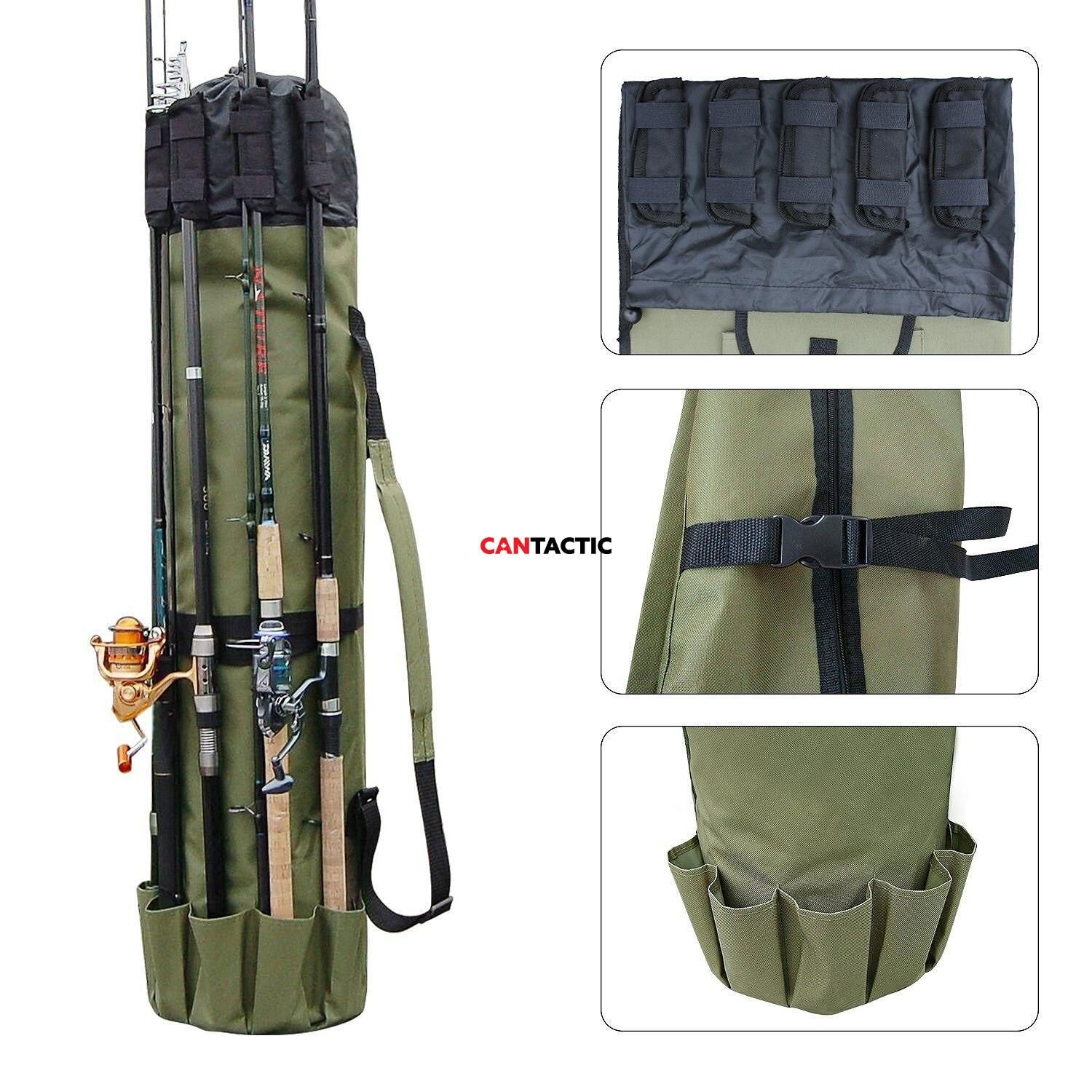 Multifunction Fishing Rod Storage Case Canvas Reel Organizer Travel Carry Pole Tools Bag