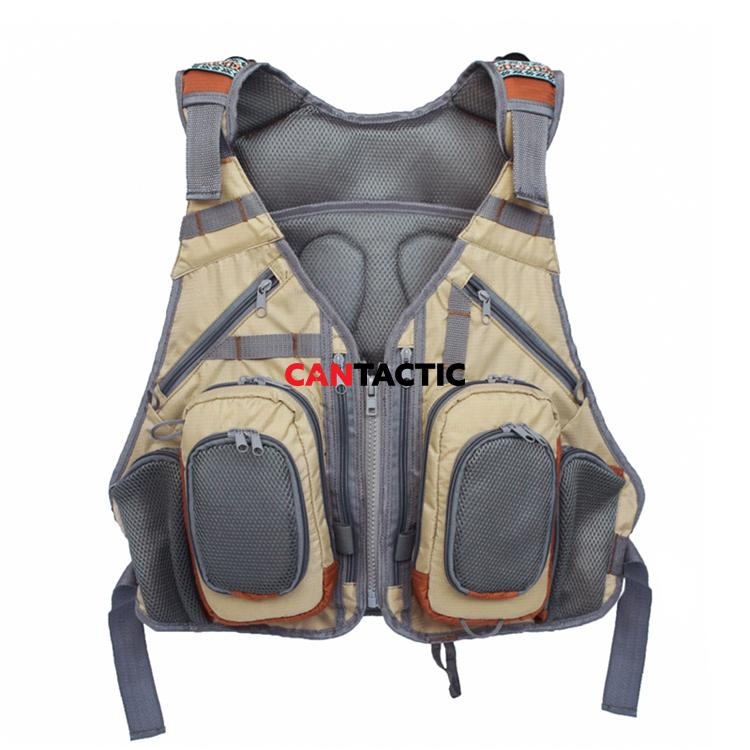 Adjustable Fishing Vest for Fishing Gear and Equipment, attached backpack