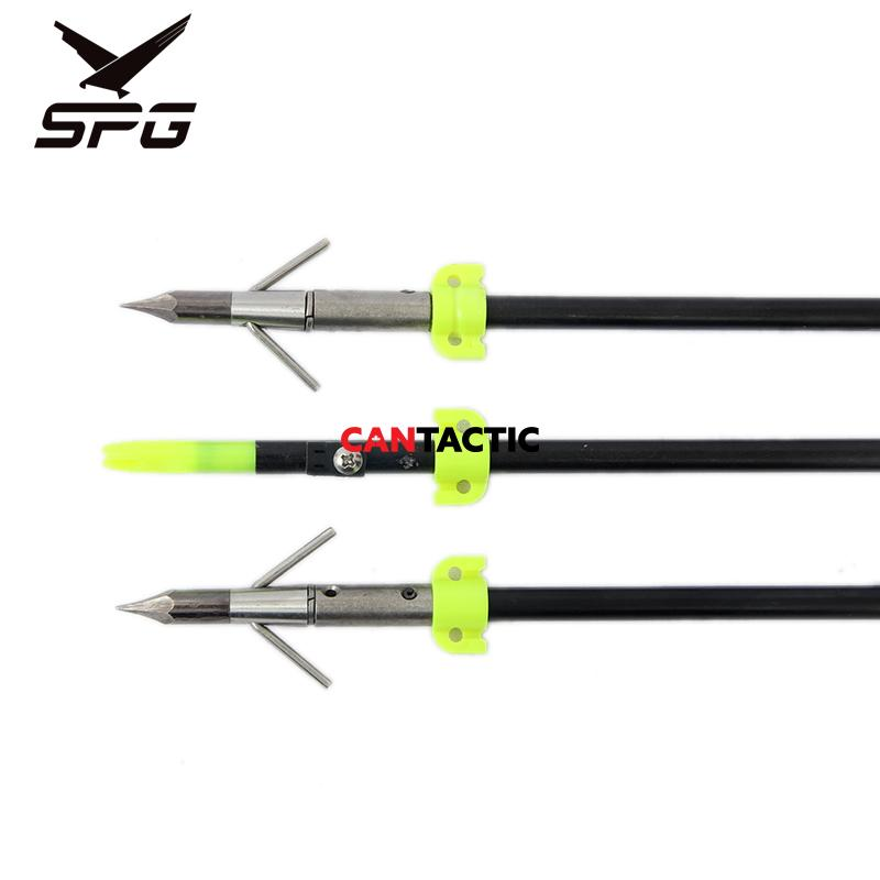 Fiber glass 8MM bow fishing 3 arrows with extra sharp 3 fishing broad heads
