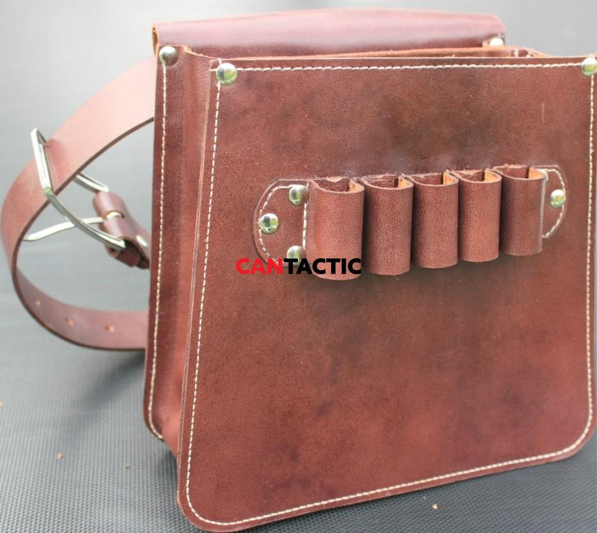 Hand made cow leather upland hunting, trap shooting,  ammo dump, elegant bag.