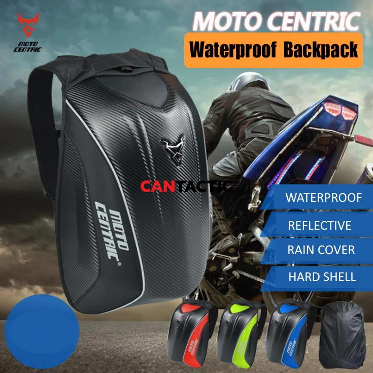 MOTOCENTRIC Carbon Fiber motorcycle backpack Moto bag Waterproof shoulders reflective helmet bag motorcycle racing package